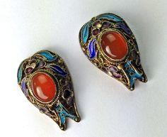 Vintage Chinese Enamel Carnelian Earrings by Topcatvintage on Etsy
