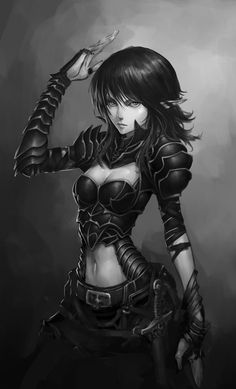 Elf girl warrior sketch by ~MagnaLeon on deviantART