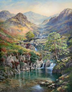 """""""Lingcove Stairway to Bowfell"""" by Graham Twyford (www.grahamtwyford.com) Landscape Paintings, Oil Paintings, Painting Art, Landscapes, Fish Ponds, Beautiful Artwork, Stairways, Game Art, Graham"""