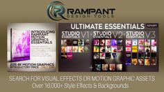 Rampant Motion Graphics Essentials - professionally designed and curated collection of paint, ink, paint strokes, textured overlays, chamber effects, textures and motion graphics. Also Bundle of ALL RAMPANT STYLE EFFECTS on SALE NOW. Learn more on https://pkmediasharing.com/rampant-design/