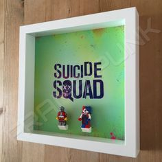 Suicide Squad White Frame Display With Lego Minifigures Side View