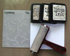 Distress Ink and more embossing folders... from Scrapbook and Cards Today Project ideas