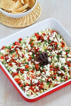 Healthy Mediterranean 7 Layer Dip by CookinCanuck Clean Eating Snacks, Healthy Snacks, Healthy Eating, Eating Habits, Dip Recipes, Appetizer Recipes, Cooking Recipes, Party Appetizers, Easy Recipes