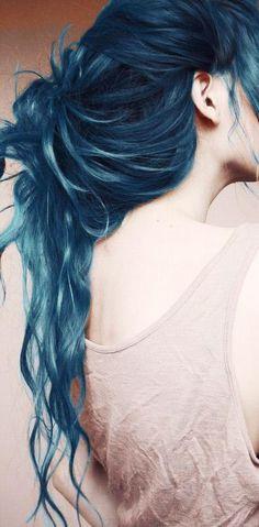 Dark Navy Blue Hair