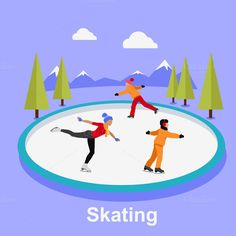 People Skating Flat Style Design by robuart on Creative Market