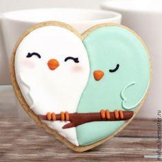 Купить Пряник Сердце - бирюзовый, шебби-шик, День Святого Валентина, день влюбленных, пряник