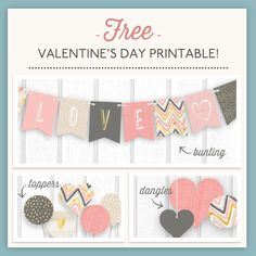 Free Valentine's Day Printable - bunting