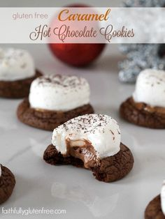 Warm up with these Gluten Free Caramel Hot Chocolate Cookies from Faithfully Gluten Free