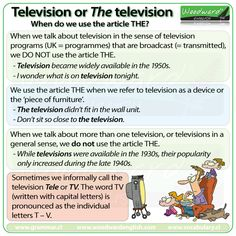 Television of THE Television. When do you use the article THE? Television, TV, Tele.