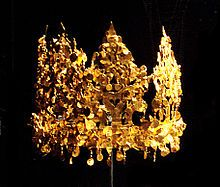 Crown of Silla -  This crown was excavated from Grave Six in Tillia Tepe, Afghanistan and is estimated to be from the first or second century A.D. The style of the crown strongly suggests a Sytho-Siberian connection with Korea.  Wikipedia, the free encyclopedia
