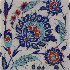 Iznik tile - quartz The rural town of Iznik (old Nicea), an important cultural center during the reign of Suleyman the Turkish Plates, Turkish Art, Turkish Tiles, Moroccan Tiles, Moroccan Decor, Islamic Tiles, Islamic Art, Art Nouveau, Chinese Ceramics