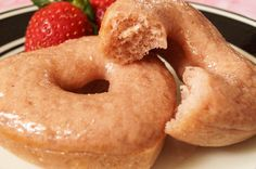 """Baked Strawberry Donuts: made with whole wheat pastry flour in mini muffin pan as """"munchkins"""""""