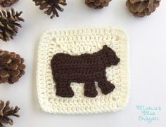 """This granny square is part of the Woodland Afghan Series. This woodland bear is worked in rows then worked around the main body to complete the legs, head, and back. It is completed using HDC, SC, and slip stitches."""