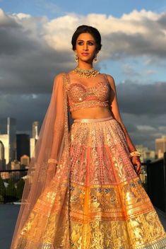 Shimmery bridal lehenga perfect for engagement ceremony. Wedding Looks, Bridal Looks, Indian Dresses, Indian Outfits, Indian Wedding Planning, Indian Weddings, Saree Gown, Maroon Wedding, Lehenga Designs