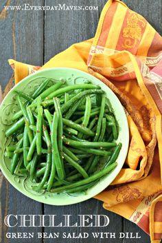 Vegan Chilled Green Bean Salad with Dill  #vegan #sidedish #greenbeans #freshdill #vegetarian #paleosidedish #paleorecipe #whole30