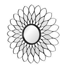 Broste copenhagen round mirror in black metal flower shape Flower Mirror, Broste Copenhagen, Video Artist, Heart Wall, Metal Flowers, Fantasy Landscape, Round Mirrors, House And Home Magazine, Flower Shape