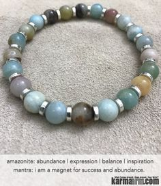 "Amazonite is a ""Stone of Success and Abundance"", attracting focus and good luck.  The Amazonite stone is a powerful talisman of healing and prosperity. It has been used in jewelry and cut into beads since the time of the early Mesopotamian cultures. Well-known in India, Egypt, Sudan and Mesopotamia,......Yoga Bracelets Beaded. Men Women. Prayer Mantra Spiritual Mala. Amazonite."