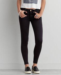 American Eagle Sateen X Jegging (Jeans), Women's, Jet Onyx