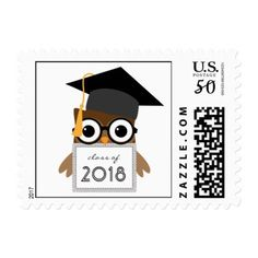Cute Geeky Owl Class of 2018 Graduation Stamp - graduation gifts giftideas idea party celebration