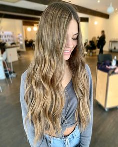 Waist-length waves are timeless! Feel free to partner this style with blonde balayage to boost movement and texture. Long Wavy Hair, Long Hair Cuts, Long Hair Styles, Brunette Hair, Blonde Hair, Waist Length Hair, Dream Hair, Latest Hairstyles, Blonde Balayage