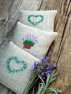 lavender sachets set of 3 embroidered lavender by BelaStitches, $36.00