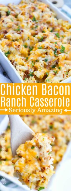 This Chicken Bacon Ranch Casserole is loaded with creamy Alfredo sauce, ranch seasoning, chicken, bacon, and baked with cheese. The perfect comfort food and a dinner that won over my entire family! Chicken Bacon Ranch Pasta, Ranch Chicken Casserole, Baked Chicken, Bacon Chicken Recipes, Bacon Meals, Healthy Chicken Casserole, Chicken Cordon, Crack Chicken, Bacon Recipes Healthy