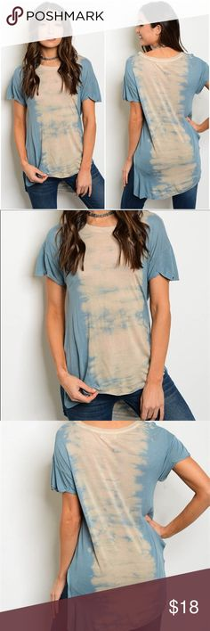 """Just in ➰ {{ JESSICA }} tie dye top The JESSICA is a cute short sleeve scoop neck tie dye tee. Only size medium available. Length of front: 23"""" Length of back: 27"""" Bust: 36"""" Tops"""