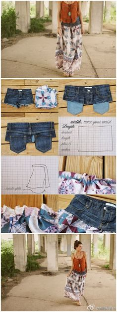 Recycling : Transform your old shirt jeans into skirt