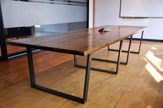 Love the table legs. Would be great dining table (smaller).  Sonofawoodcutter on Etsy https://www.etsy.com/listing/223536178/boardroom-table-office-furniture