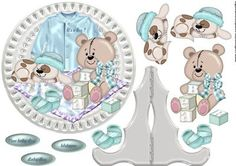 Porcelain Plate Stand New baby Boy on Craftsuprint designed by Marijke Kok - Cute design for a lovely new baby boy card. - Now available for download!