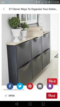 Class solution for narrow spaces. Ikea shoe rack to transform as a dresser - Ikea DIY - The best IKEA hacks all in one place Ikea Entryway, Entryway Shoe Storage, Apartment Entryway, Ikea Storage, Coat Storage, Entryway Ideas, Hallway Ideas, Plastic Storage, Ikea Hacks