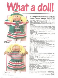 Free PDF knitting pattern for a whole wardrobe of clothes for Cabbage Patch Dolls. Enjoy!