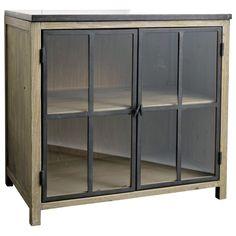 Mobile basso vetrato da cucina in legno e pietra L 90 cm Copenhague