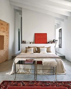 Spanish home with rustic modern bedroom