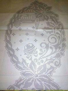 Schemi gratis da realizzare a Filet Punto Croce Maglia Uncinetto e Ricamo Filet Crochet Charts, Crochet Stitches, Crochet Patterns, Crochet Amigurumi, Knit Crochet, Christmas Holidays, Christmas Crafts, Border Embroidery, Fillet Crochet