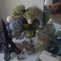 My bedroom trinkets with fresh hydrangeas and peonies Coffee Table Flowers, Hydrangeas, Peonies, Fresh, Bedroom, Painting, Instagram, Limelight Hydrangea, Bedrooms
