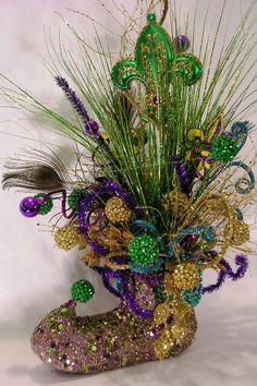 Mardi Gras Jestered Boot Custom Arrangement