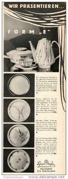 "Original-Werbung/Anzeige 1955 - ROSENTHAL PORZELLAN / FORM ""E""  - ca. 80 x 230 mm"
