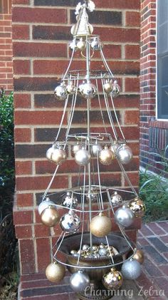 A Christmas tree made from stripped lampshades. The possibilities are endless.