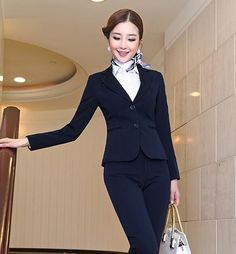 Pant Blue Pant Suits Formal Ladies Office Ol Uniform Designs Women Elegant Business Work Wear Jacket With Trousers Sets Suits & Sets Radient Jacket
