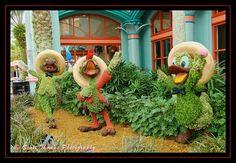 The Three Caballeros Topiary at Disney's Coronado Springs Resort at the Walt Disney World Resort in Orlando, FL.