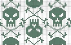 skull cross stitch (the link leads to a crochet or knitting project, but this is easily translatable to cross stitch. -Jen)