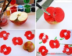 Legendary A little bit of stamping Toddler Crafts, Preschool Crafts, Diy And Crafts, Crafts For Kids, Arts And Crafts, Fruit Crafts, Apple Prints, Apple Theme, Autumn Crafts