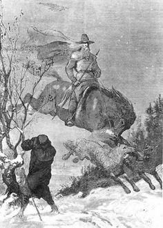 "Odin continued to hunt in Swedish folklore. Illustration by August Malmström. From  ""Underworld Hounds & the Wild Hunt,"" for Mythology Magazine. www.mythologymagaazine.com"
