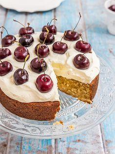Brown Butter Cake with Vanilla Bean Cream & Cherries by raspberri cupcakes, via Flickr