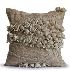 Linen Pillow Cover -Floral Bloom Pillow Case -Accent Pillows Beaded Cotton Throw Pillow