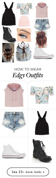 """""""Edgy and casual"""" by alex2115 on Polyvore featuring Monki, Miss Selfridge, NLY Accessories, Aéropostale, One Teaspoon, adidas and Converse"""