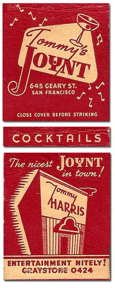 Tommy Harris Tommy's Joint #Matchcover To order your Business' own branded #matchbooks or #matchboxes GoTo: www.Getmatches.com or CALL 800.605.7331 Today!