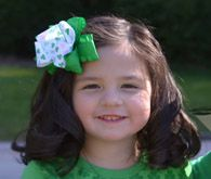 St. Patricks Day Shamrock Green Ruffle Hair Bow