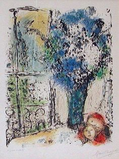 This is Marc Chagall  Blue Bouquet Painting